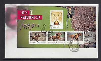 AUSTRALIA - 2010 The 150th MELBOURNE CUP Horse Race Minisheet on FDC