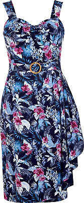 KLEID Gl Rockabilly Collectif TALLULAH Maui Hibiscus Fifties Tiki Sarong Dress