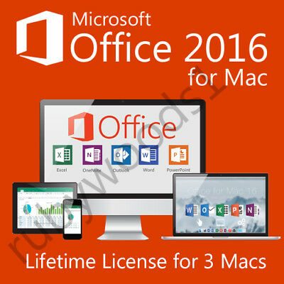 Microsoft Office 2016 For Mac Home & Business | 3 Mac License | Instant Download