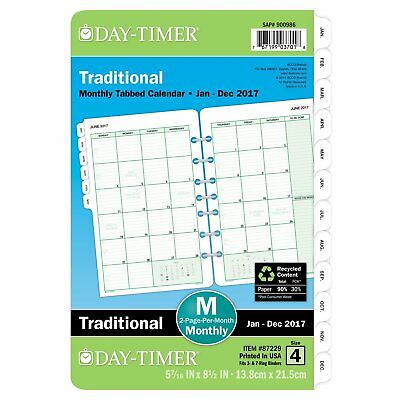 OpenBox Day-Timer Monthly Planner Refill 2017, Two Page Per Month, Loose Leaf, 5