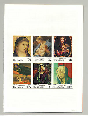 Gambia #1674-79 Christmas Art 1v M/S of 6 Imperf Chromalin Proof Mounted