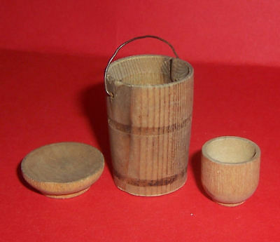 Vintage Dolls House Antique German Wood Treen Items Bucket Pail