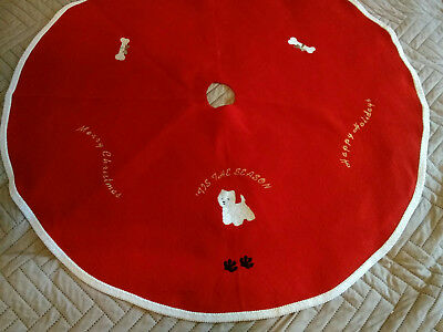 "Westie West Highland White Terrier Christmas Tree Skirt 36"" Season"