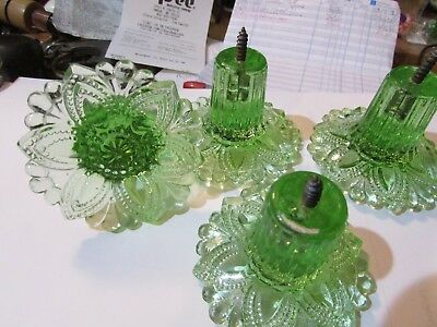 Set of 4 Green Glass Curtain Tie backs vintage curtain/window hardware