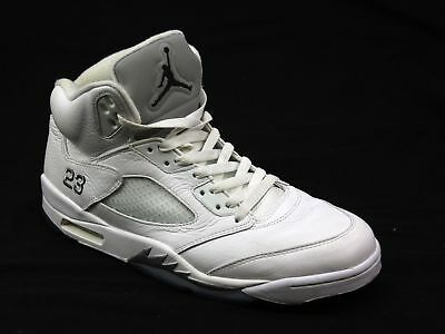 Mens Nike Air Jordan 5 Retro White Lace Up Fashion Casual Sport Trainers Size 10