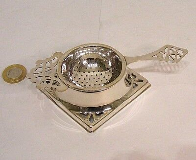 Vintage Art Deco Silver Plated Tea Strainer & Stand