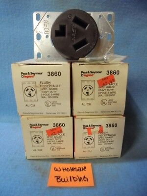 Pass & Seymour Flush Receptacle 3860, Heavy Duty, 30 Amp, 125/250 V, Lot Of 4