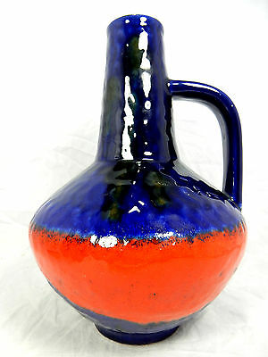 Beautiful blue & red  glazed 60´s design Carstens Keramik Vase 101  27 cm