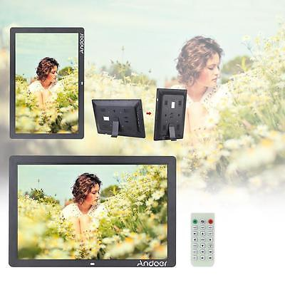 "17"" LED HD 1080P Digital Photo Frame Picture Alarm Clock MP3/4 Movie Player A9X6"