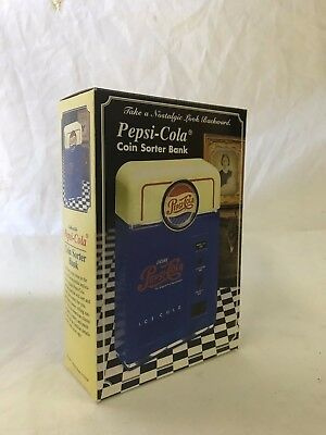 Vintage 1998 Pepsi Cola Coin Sorter Bank Retro Soda Pop Machine *NIB*