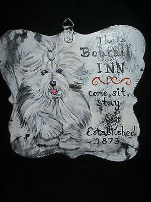 HP Old English Sheepdog double sided SIGN painting hand painted dog ART INN CLUB