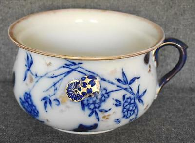 Lovely Carlton Antique Flow Blue Gold Handled Chamber Pot With Asian Motif