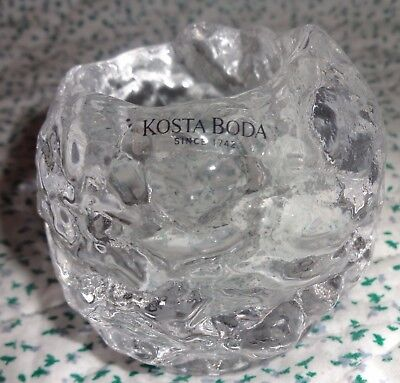 Signed Kosta Boda Ann Warff Art Glass Sm Crystal Snowball Votive Candle Holder