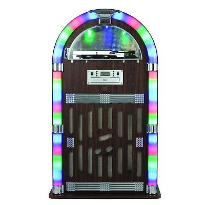Itek I60021 Jukebox 1950's Retro Bluetooth CD Led Light FM Radio. Record Player