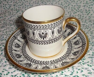 CROWN STAFFORDSHIRE ENGLAND Black White Gold DEMI -TASSE CUP AND SAUCER Set