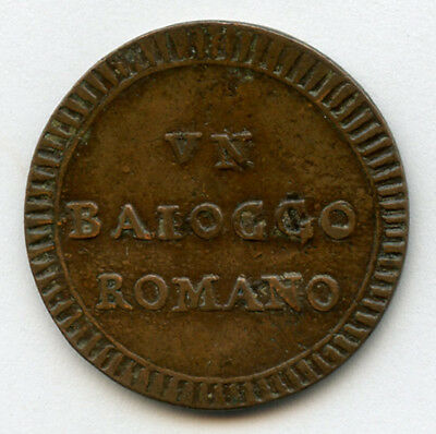 Italy Papal Rome 1797 Pope Pius Vi Baiocco Scarce Coin Nice Brown Vf.