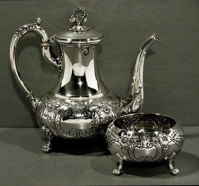 Watson Co. Sterling Tea Set   c1920    * HAND DECORATED *