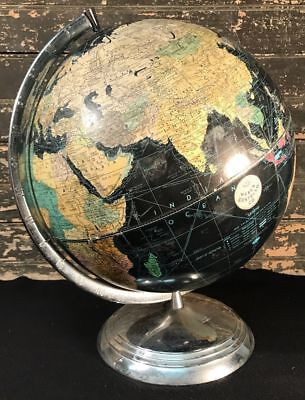 "Vtg ca. 50s-60s WEBER COSTELLO Peerless 12"" Black World Globe MCM Stainless"