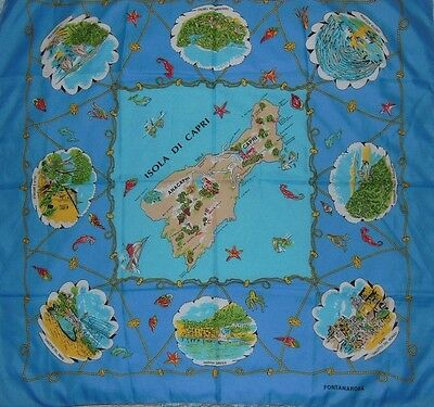 Vintage Italian Fontanarosa Ladies Scarf ISOLA DI CAPRI Nautical Sealife Italy