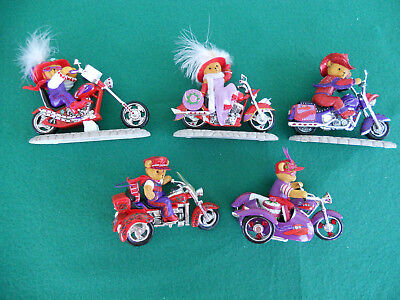 Red Hat Society Lot 5 Hot Mama's Motorcycle Figurines Hamilton Collection  w/COA