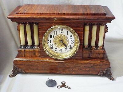 Antique SETH THOMAS WOOD GRAIN PILLAR STYLE Lion Head Handles MANTLE CLOCK