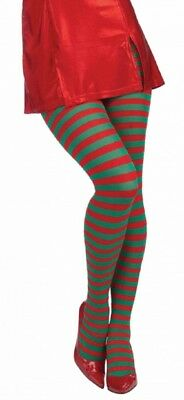 Adult size Red and Green Striped Tights - Christmas Stockings - Elf Holidays fnt
