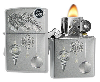 Zippo 29600 Christmas Holiday Ornament Silver Gold Satin Chrome Finish Lighter