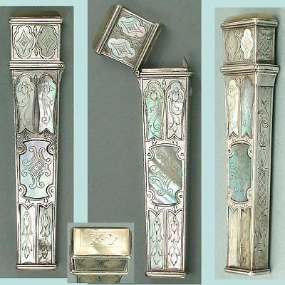 Exceptional Antique French Mother of Pearl & Silver Needle Case * Circa 1750