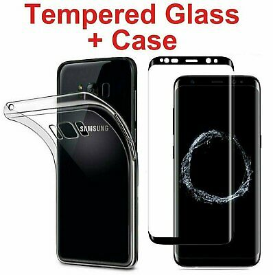 Full Cover Tempered Glass Screen Protector + Clear Case for Galaxy S8 / S8 Plus
