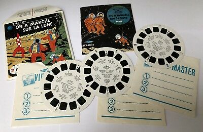 3 Disques View-Master 21 photos TINTIN On a marché sur la Lune 1965 Complet TBE