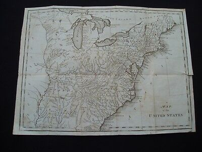 1795 Scott Colonial Map United States 222 Yr Old Rare Genuine Antique