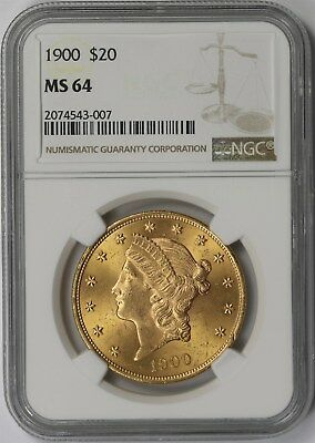 1900 $20 NGC MS 64 Liberty Head Gold Double Eagle