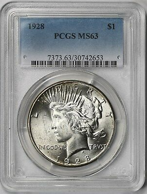 1928 $1 PCGS MS 63 (Key Date) Peace Silver Dollar