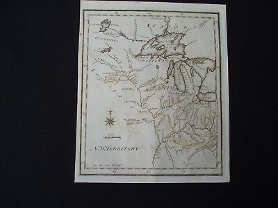 1795 Scott Colonial Map North West Territory 222 Yr Old Rare Antique Genuine