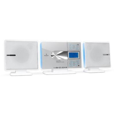 Hifi Stereo Musik Anlage Mp3 Cd Player Radio Tuner Usb Sd Aux Wecker Touch Weiß