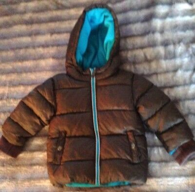 Boys Next Brown & Blue Lined Warm Winter Coat Aged 1 & 1/2 - 2 Yrs Old