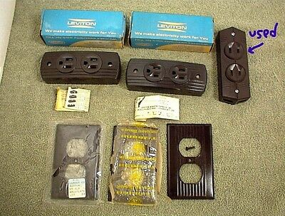 Vintage Electric Leviton Ge Bakelite Socket Outlet Wall Plates New In Box
