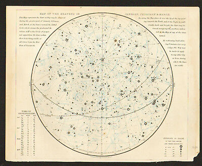 1850 Set of 4 MAPS of the HEAVENS - Stars & Constellations
