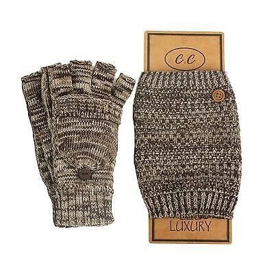 2pc Set Marled Knit Boot Cuff Cuffs Liner Leg warmer w Flip Mitten Gloves Brown