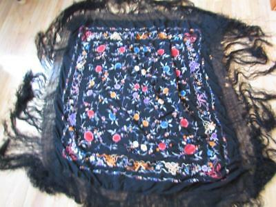 ANTIQUE BLACK CHINESE EMBROIDERED SHAWL with FLORAL FLOWER DESIGN