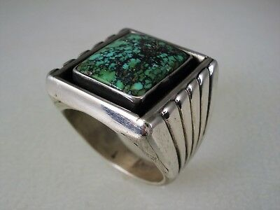 SCARCE OLD Fred Thompson (d.2002) NAVAJO STERLING SILVER & TURQUOISE RING sz 10