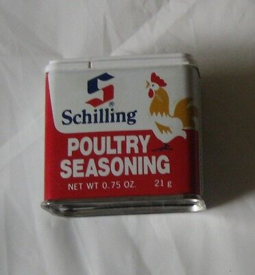 VINTAGE SCHILLING POULTRY SEASONING SPICE TIN .75 oz - 1977 - Good Condition!