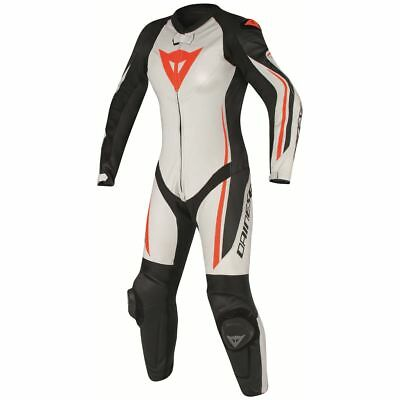 Dainese Assen Womens Perforated 1-Piece Leather Race Suit White/Black/Fluo Red