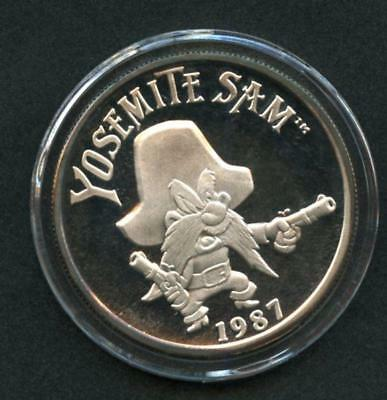 1987 1 Oz Silver Coin W/ Yosemite Sam W/ Coa, Original Case & Box Lqqk!!*