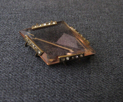 Antique art deco openback rose faceted crystal jeweled rhinestones metal pin