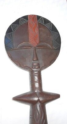 Old ASHANTI AKUABA GHANA carved & painted FERTILITY DOLL-huge 21 inches/53cm