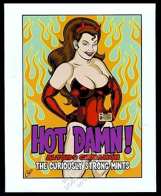 2000 Altoids cinnamon mints Satan devil woman art vintage print ad