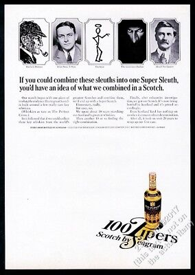 1966 The Shadow Saint Sherlock Holmes art 100 Pipers Scotch Whisky print ad