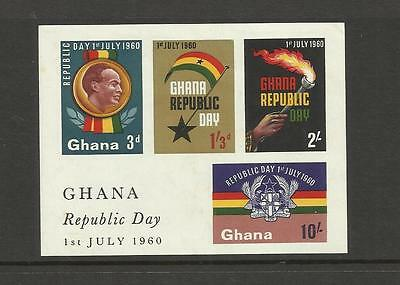Ghana ~ 1960 Republic Day (Mini Sheet & Singles Mint) Mh