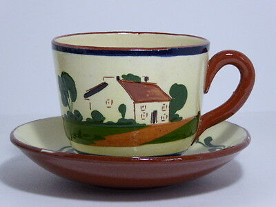 Watcombe Pottery Devon Motto Ware Breakfast Tea Cup & Saucer The Cup That Cheers